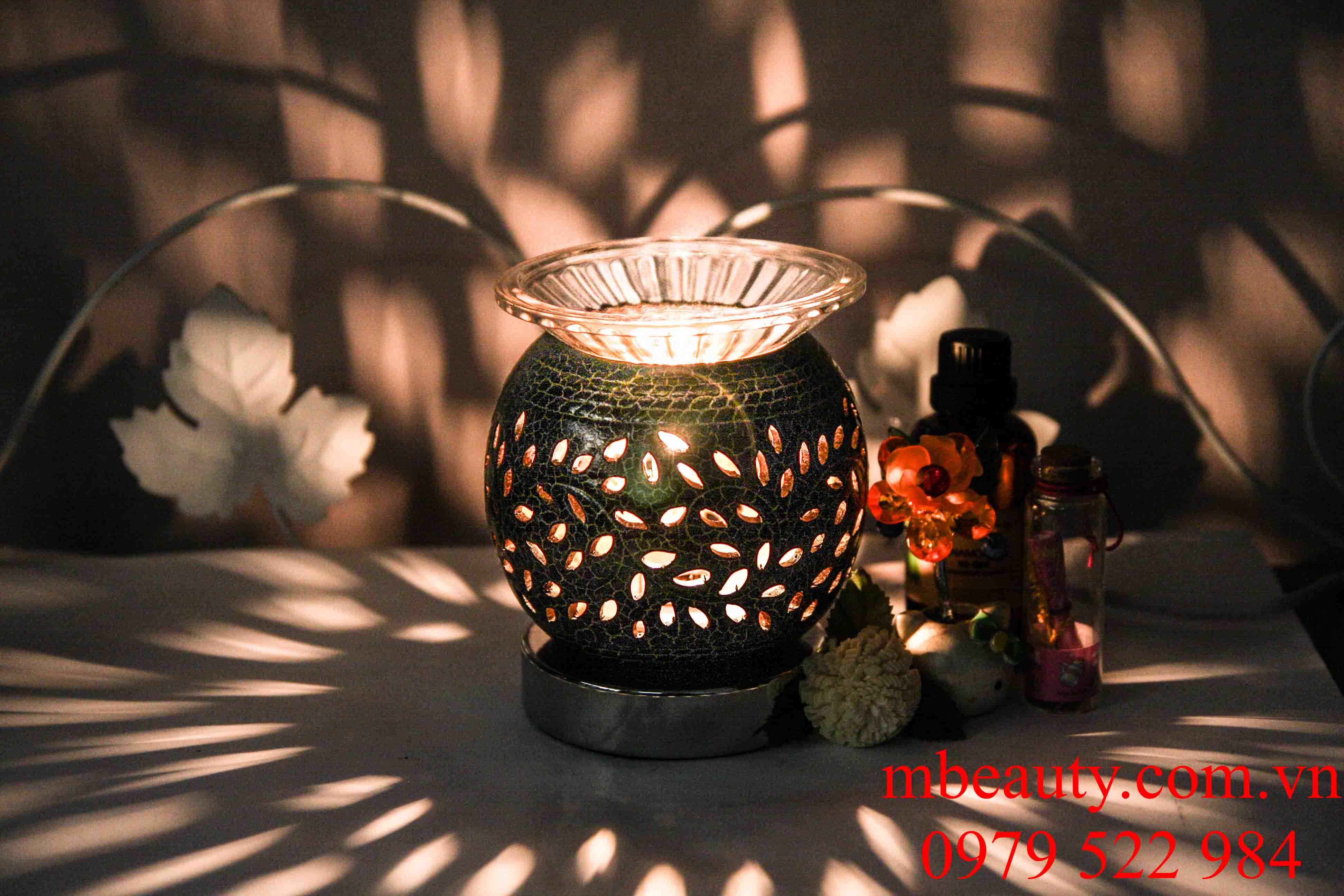 Đèn xông tinh dầu gốm nâu cảm ứng