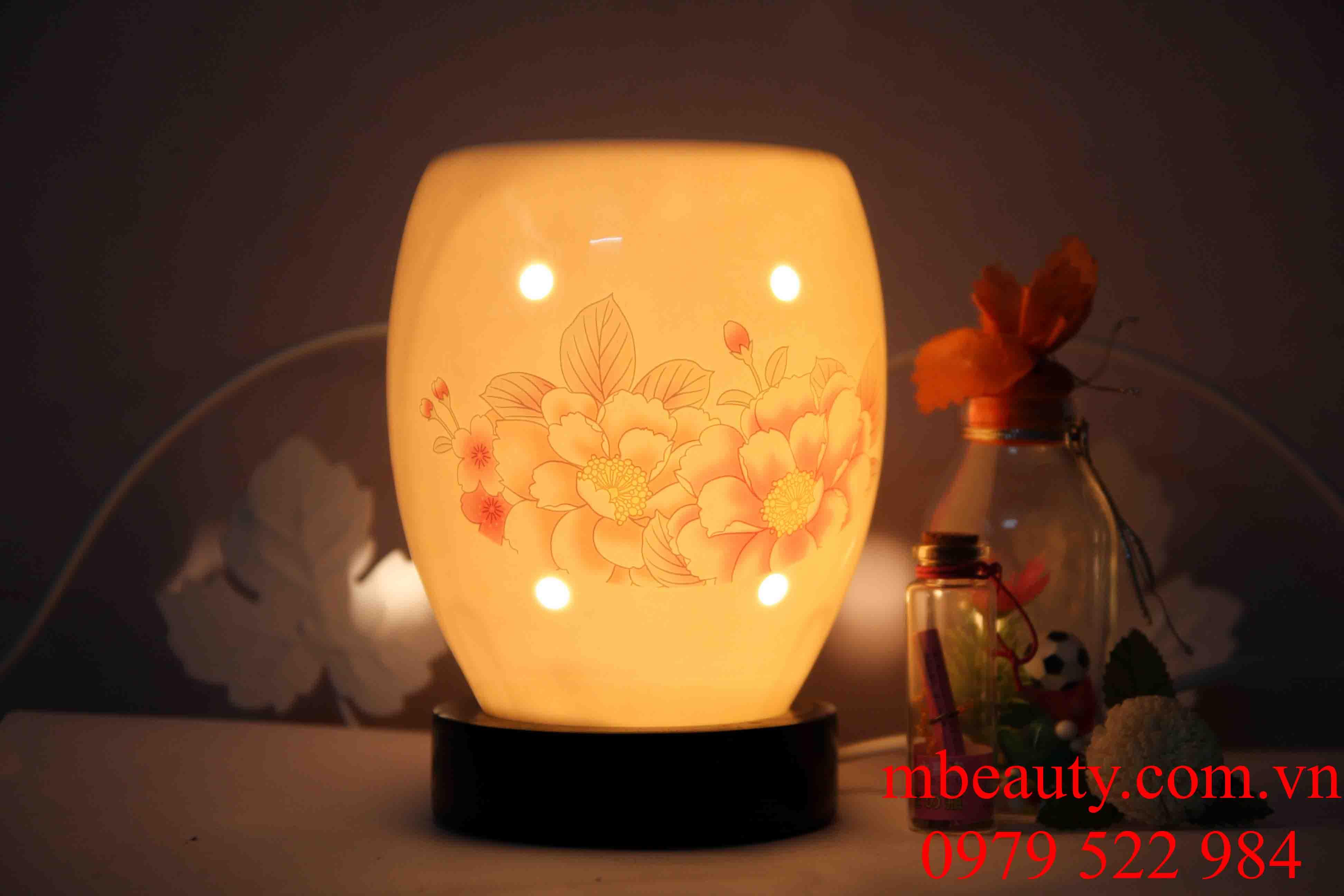 Đèn xông tinh dầu gốm hoa