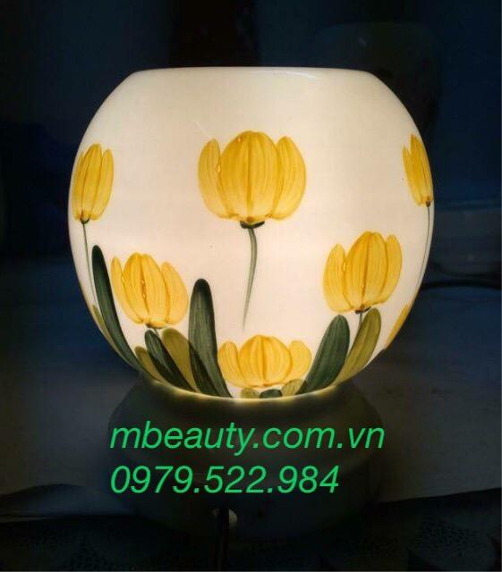 Đèn xông tinh dầu Bát tràng gốm BT hoa vàng