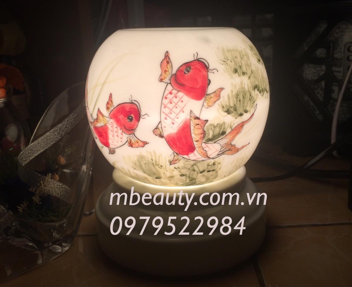Đèn xông tinh dầu gốm tranh cá